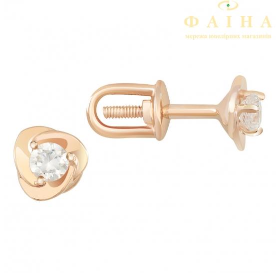 Золотые серьги-пуссеты с фианитом (2101168101) - 1