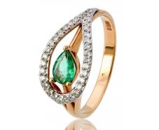 Золотое кольцо с бриллиантом и изумрудом (36098470)