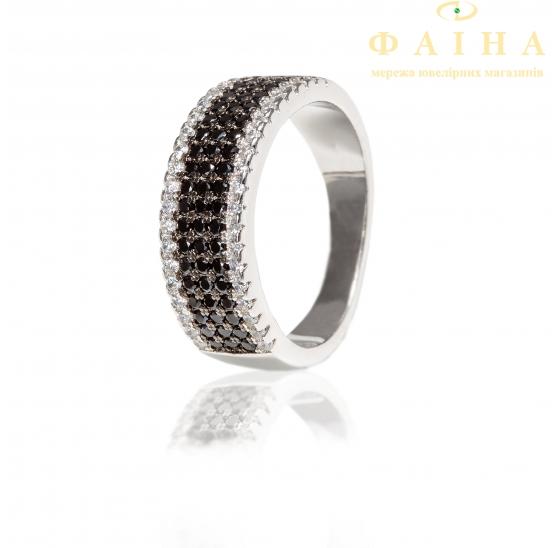 Серебряное кольцо с фианитом (КК2ФО/261) - 1