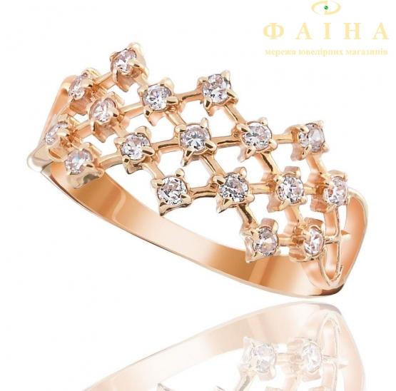 Золотое кольцо с фианитом (0140) - 1