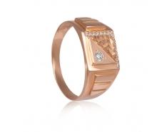 Золотое кольцо-печать с фианитом (629)