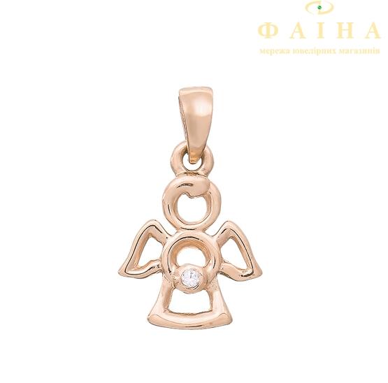 Золотой кулон с фианитом (3101162101) - 1
