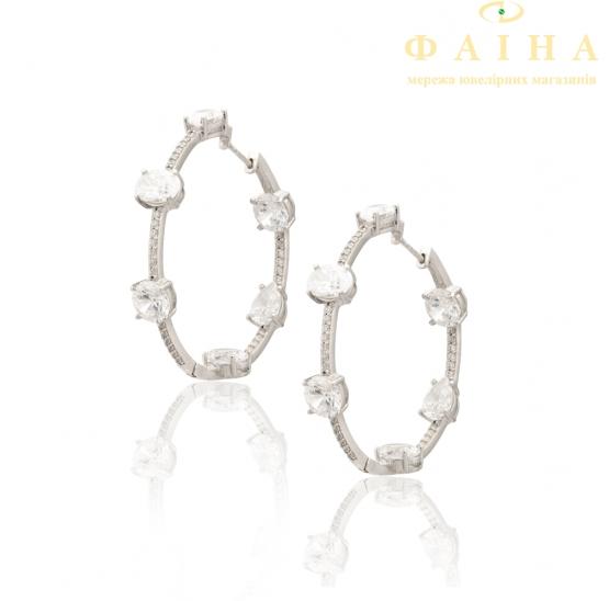 Серебряные серьги-кольца с фианитом (18/Ск27) - 1