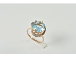 Золотое кольцо с топазом и фианитом (112-1193т)