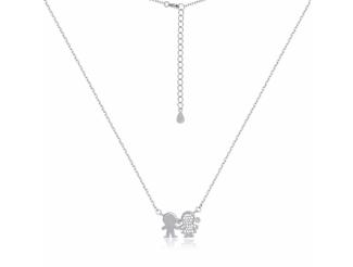 Серебряная цепь-колье  с фианитом (Кл2Ф/701)
