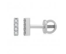 Золотые серьги-пуссеты с бриллиантом (102-10069)