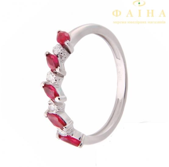 Золотое кольцо с бриллиантом и рубином (гусеница р б) - 1