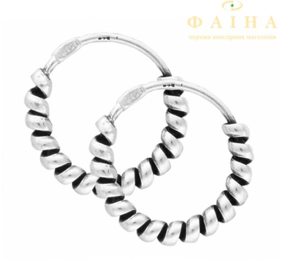 Серебряные серьги-кольца (С5/338) - 1