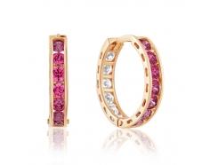 Золотые серьги-кольца с фианитом (4174SwRe)