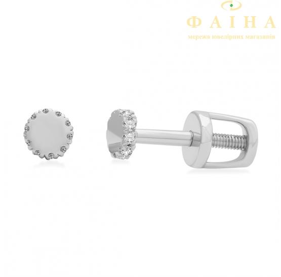 Золотые серьги-пуссеты с бриллиантом (102-10029б) - 1